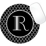 Black Color Background with White Wave Swirls Pattern MONOGRAM CUSTOM NAME Mouse Pad (ROUND)