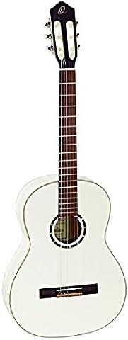 Ortega Guitars R121SNWH Family Series Slim Neck Nylon 6-String Guitar with Spruce Top, Mahogany Body, White