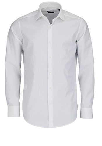 Hugo Boss Regular Fit Hemd Langarm Gordon Popeline Weiß Größe 42