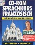 Preisvergleich Produktbild CD-ROM Sprachkurs Französisch,  2 CD-ROMs und Sprachführer Für Windows 3.x / 95 / 98. Mit Kopfhörer u. Mikrofon