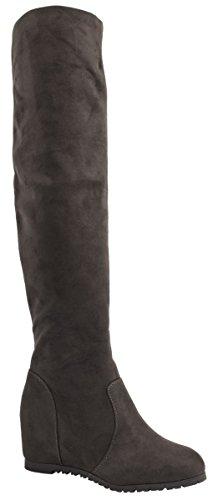 Elara Damen Keilabsatz Stiefel | Overknee Stiefel | Hidden Wedges Grau New York
