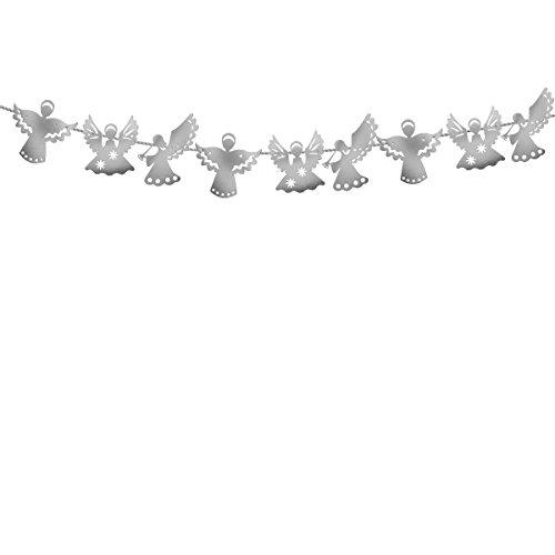 OULII Engel Papier Banner Girlande hängende Flagge für Weihnachten Neujahr Hochzeit Party Dekoration (Silber)