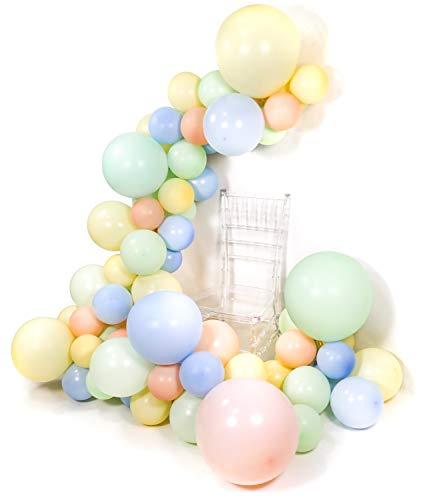 PuTwo Pastell Luftballons, 48 Stück Luftballons Pastell Grün Luftballons Pastell Blau Luftballons Pastell Rosa Luftballons Pastell Gelb, Bunte Ballons für Einhorn Party, 8 Riesen Luftballons Inklusive