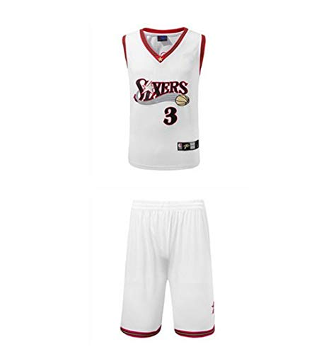 Bnaqly NBA Basketball Trikot, Iverson #3 Philadelphia 76ers FüR Erwachsener Basketball Uniform T-Shirt Basketball Anzug,White,XS-150-158CM
