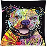 ABartonArtsale Dean Russo Beware Of Pit Bulls 18x18 Inch Cotton Linen Decorative Throw Pillow Cover Cushion for sofa bed Z416