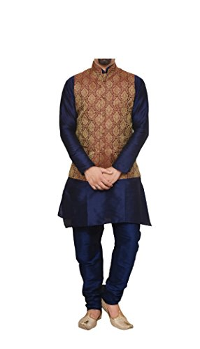 Mag Men's Silk Kurta Pyjama With Maroon Waistcoat (Rg-10809_Navy Blue_38)