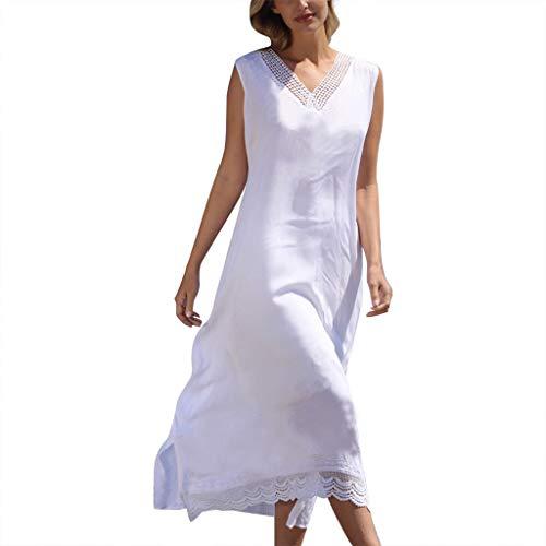 POTOU Kleid Weißer V-Ansatz Sleeveless schnüren Sich Oben Patchwork beiläufiges Mittlere Kleid (Weiß-1, XL) -