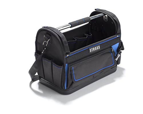STROXX offene Werkzeugtasche 41 x 33 x 21 cm | 31 Fächer | Robuster & wasserdichter Hartplastikboden | Leere XL Werkzeugbox | Für mehr Übersichtlichkeit bei der handwerklichen Arbeit