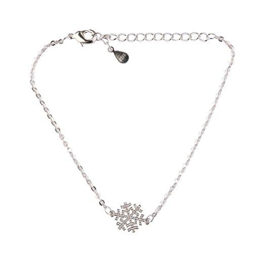 Tinksky Flocon de Neige Hiver Charme Bracelet Extensible Noël Cadeau élégant Argent Main Decor