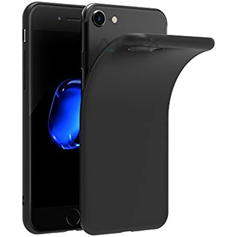 iPhone 7 Funda, AICEK Negro TPU Apple iPhone 7 Carcasa Funda Suave Flexible piel Resistente a los Arañazos silicona protectora para iPhone 7