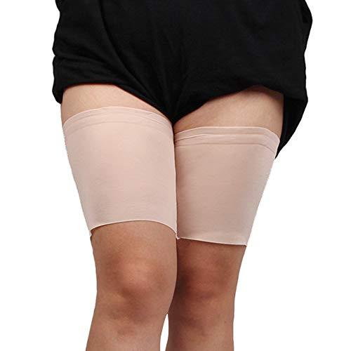 Kinlou cosciali antiscivolo - fasce cosciali elastiche sportive unisex con scaldamuscoli in silicone antiscivolo che impediscono lo sfregamento, beige, f