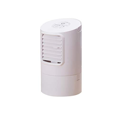 Mini Cooler Luftkühler mobiles Klimagerät Tragbare Mini-Klimaanlage Desktop Circular Air Conditioning Fan Spray Luftbefeuchter Fan Mini 7 Farbe LED Fan,Mini-Klimaanlagenlüfter energieeffizient (White)