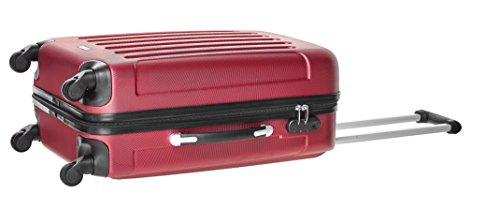 Packenger Kofferset - Travelstar - 3-teilig (M, L & XL), Rot, 4 Rollen, Koffer mit Zahlenschloss, Hartschalenkoffer (ABS) robuster Trolley Reisekoffer - 8