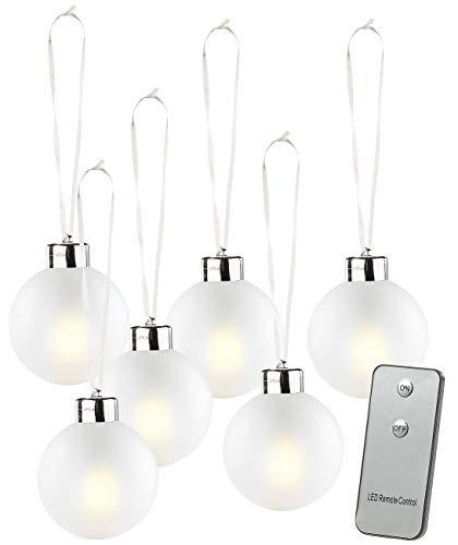 Lunartec Christbaumkugeln: Beleuchtete Weihnachtsbaum-Kugeln aus Glas, mit Fernbed,6 Stück, weiß (Beleuchtete Weihnachtskugeln)