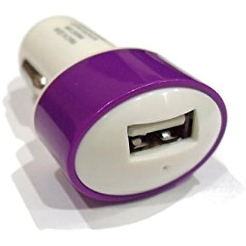 C63®, 2 A, colore: viola-Caricabatteria USB per auto per Apple iPhone 6, 6 Plus, S6 Samsung S5 e bordo