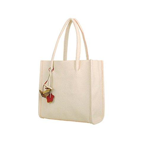 Taschen Damen,Frauen Mädchen Handtaschen Leder Umhängetasche Farbe Blumen Citytasche LMMVP (White)
