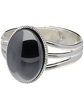 Handgemachte Keltische Triband Zinn Ring mit großen Hämatit Mondstein (einstellbar)