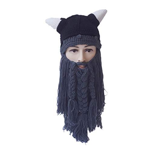 Ox Horn Kostüm - Amosfun Halloween Kostüme Herbst Winter Wikinger Mützen Gestrickte Lange Bart Hüte Ox Horn Lustige Hut Warme Mützen Party Maske Cosplay Geburtstagsgeschenk (Grau)