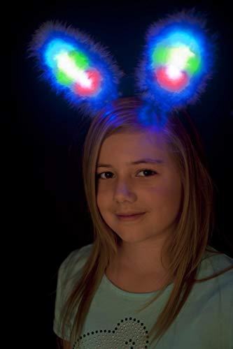 Smiffys Kinder Mädchen Leuchtende Hasen Ohren, One Size, Blau, ()