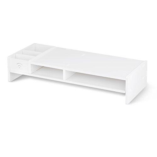 Finether Monitorständer Bildschirmständer Tischaufsatz Schreibtischaufsatz Schreibtischregalfür Monitorerhöhung Bildschirmerhöhung aus WPC weiß 48 x 20 x 10 cm (Kabel-hefter)