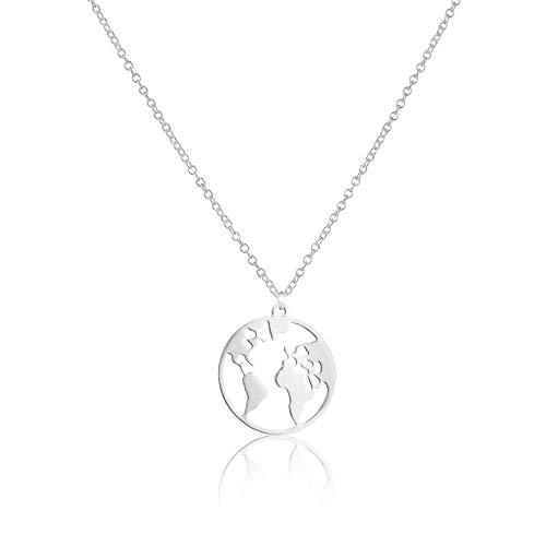 GD GOOD.designs EST. 2015 Weltkugel Halskette in Silber, Gold oder Roségold, 45 cm (Silber)