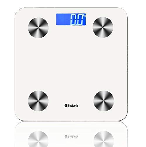 ZHESHEN Báscula Escala De Grasa Corporal con Bluetooth Y App para Móviles Andriod E iOS Inteligente con Medidora Composición Medidas De BMI, Masa Muscular, Masa Ósea,Calorías,White