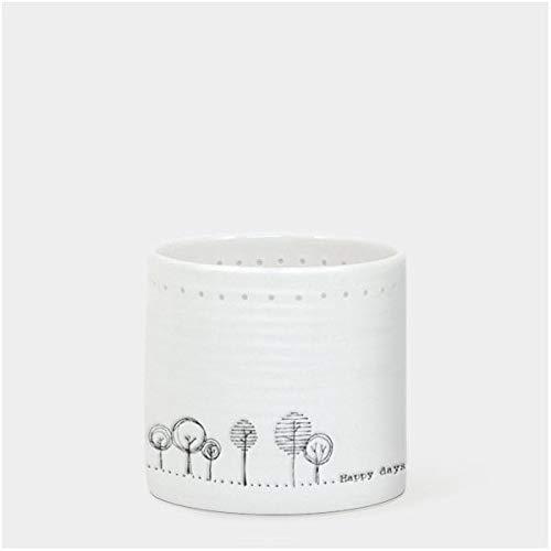 East of India 'Happy days' Porcelain Tea Light Holder