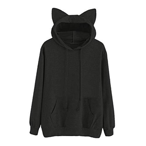 iHENGH Damen Sweatshirt Top Women Herbst Cat Long Sleeve Hoodie Shirt Sweatshirt Kapuzen Pullover Tops Bluse