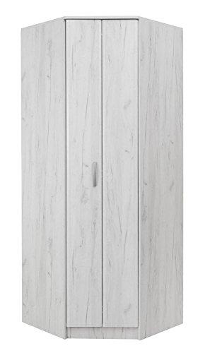 #Drehtürenschrank/Eckkleiderschrank Muros 06, Farbe: Eiche Weiß – 222 x 87 x 50 cm (H x B x T)#
