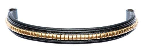 Cwell Equine Stirnband Messing Drahtreifen Tolles Qualität Handgefertigt Schwarz/Braun (COB 38,1cm schwarz)