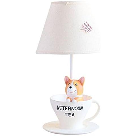 LILSN-patas cortas Corgi cálido y encantador animal de la historieta de la lámpara pequeña mesa