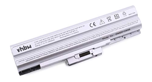 vhbw Li-ION Batterie 4400mAh (11.1V) Argent pour Ordinateur Portable, Notebook Sony Vaio VGN-AW37GYQ, VGN-AW41JF, VGN-AW41JF/H comme Sony VGP-BPL13.