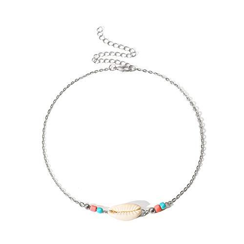 Meigold natürliche Shell Seil Halskette Kette Verstellbare Halskette Kontrast Farbigen Reis Perlen Handgemachte Kette Mädchen Damen Schmuck Ethnischen Stil (Eine Gold Sie Fügen Perlen-halskette)