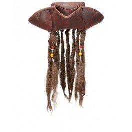 Piratenhut mit Haaren - Dreispitz braun Pirat Seeräuber Hut mit Lederoptik (Captain Jack Sparrow Kostüm Hut)