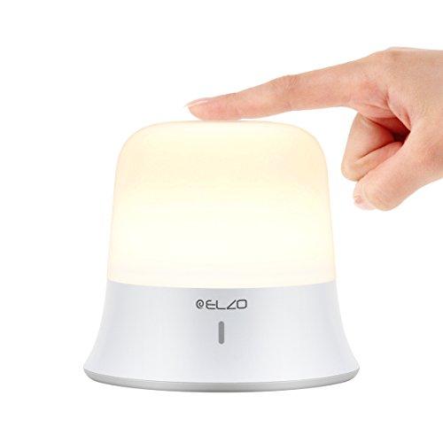 Elzo Luz de Noche LED Control Táctil & Impermeable IP65 con Blanco Cálido y frío Ajustable, Lampara ambiental Infantil USB recargable Hasta 60 Horas para Habitaciones y Camping Adultos Niños Bebé
