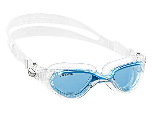 Cressi Flash - Premium Erwachsene Schwimmbrille Antibeschlag und 100% UV Schutz, Transparent/Hellblau - Blau Linsen, One Size