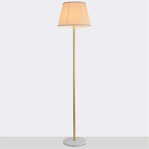 Stehlampe Nordic Einfacher Überzug Antikes Kupfer-Metall Runde Marmor Plissee Led Stehleuchte 1.65m mit Fußschalter für Wohnzimmer Schlafzimmer Büro Schönen Dekor -