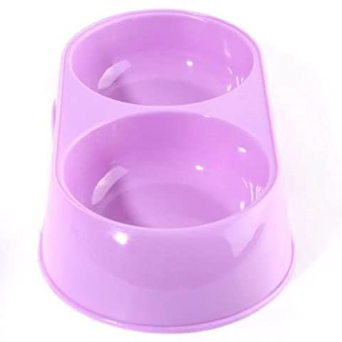 SODIAL(R) Double Plastic Pet Dog Cat Water Dish Anti No Slip Feeder Dispenser Plate Bowl, Purple