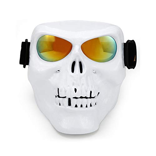 MOHET Motorcycle Protective Mask Skull Protective Face Mask Ghost Skiing Polarized Goggles Mask Halloween Decoration Riding Skull Mask,White,REDPLATING