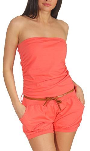 35f51d30488eb5 Malito Damen Einteiler kurz in Unifarben   Overall mit Gürtel   schicker  Jumpsuit   Romper -