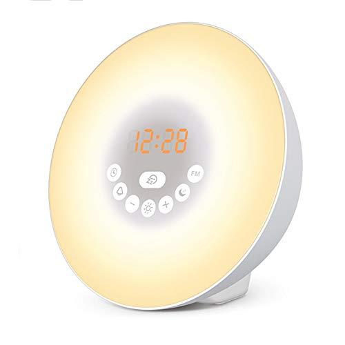 YMYJZ Modernes Wake Up Licht, 7-Farben-Wecker Wecklicht FM-Radio LED-Anzeige Glühlampe Farbe Stimmungslicht Sonnenaufgang und Sonnenuntergang Simulationssteuerung Multifunktions, weißen -