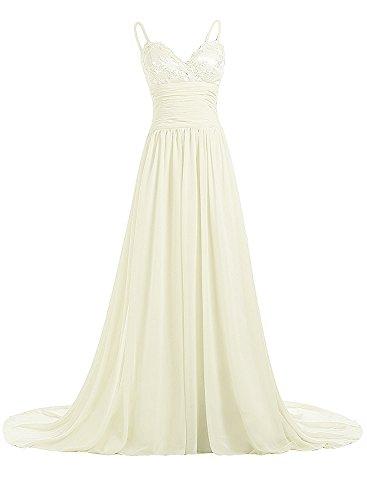 Azbro Women's Elegant Spaghetti Strap Long Prom Dress Beige