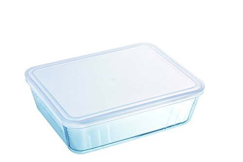Pyrex Rectangular Dish with Plastic Lid, 0.8L