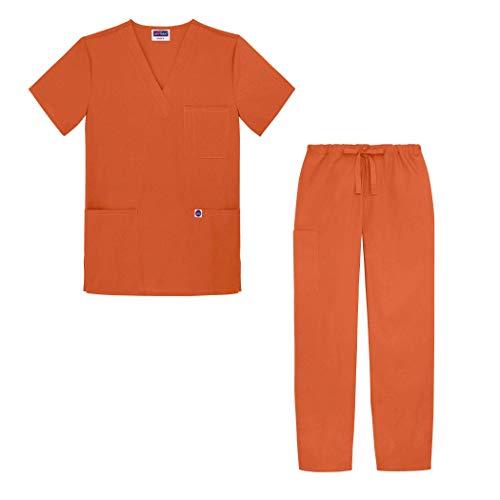 Sivvan Unisex-Schrubb-Set - Medizinische Uniform mit Oberteil und Hose S8400 Farbe: MND   Größe: XS - Orange Scrub Hose