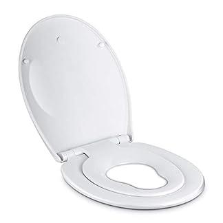 3146Wru n7L. SS324  - Amzdeal Tapa de wc,Tapa de inodoro con cierre suave y lenta para niños,Tapa de inodoro con sencillo montaje para familia,Tapa y asiento de wc de plástico duro,Tapas de wc en forma de O,blanco