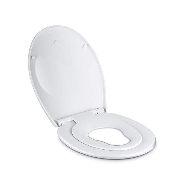 Amzdeal Tapa de wc,Tapa de inodoro con cierre suave y lenta para niños,Tapa de inodoro con sencillo montaje para familia,Tapa y asiento de wc de plástico duro,Tapas de wc en forma de O,blanco