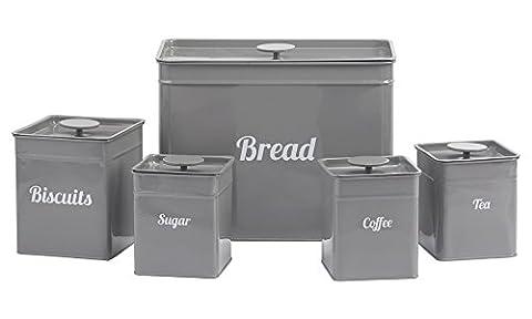 5 Piece Kitchen Storage Canister Set, Biscuits Tea Coffee Sugar Bread Avalible in Black, Grey Red & Cream (Grey)