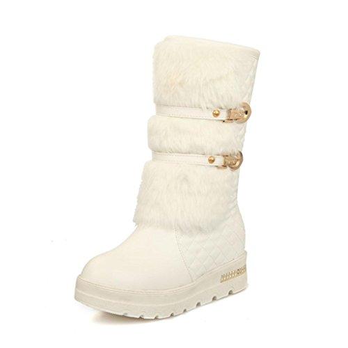 Da donna Taglia larga Scarpe Soffocato Manica stivali da neve fibbia della cintura Nel tubo stivali White