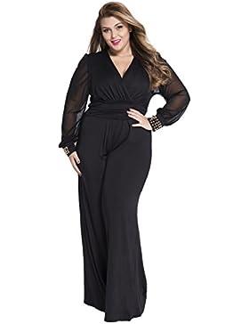 Damen Sexy Tiefer V-Ausschnitt Lang Netz Ärmel Wide Leg Schwarz Jumpsuit Overalls mit Verzierten Manschetten S-XXXL