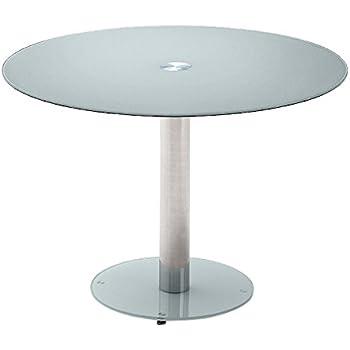 Glastisch rund  Robas Lund Tisch Küchentisch Glastisch Falko taupe rund verchromt ...